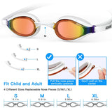 Swim Goggles with 4 Sizes Nose Pieces, No Leaking Anti Fog Clear View Swimming Goggles for Men Women Youth Kids