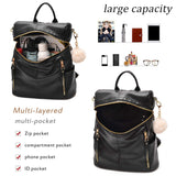 Backpack Purse for Women Multi-pocket Large Capacity Leather Shoulder Bag Multi-purpose Cute Backpack for Girls
