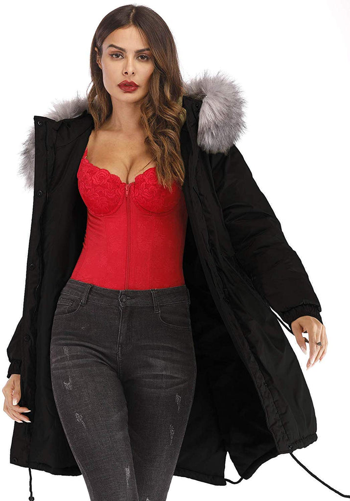 Women's Plus Size Winter Warm Long Thick Down Hooded Parka Coat Cardigan Zip Jacket Top Fashion Overcoat Outwear