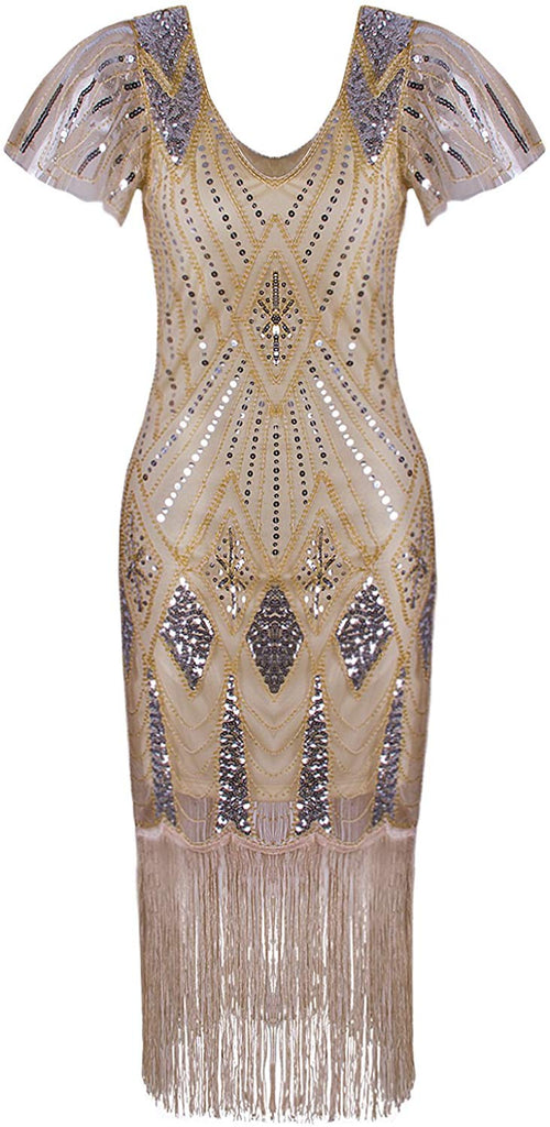 Women's 1920s Gatsby Inspired Sequin Beads Long Fringe Flapper Dress with Sleeves