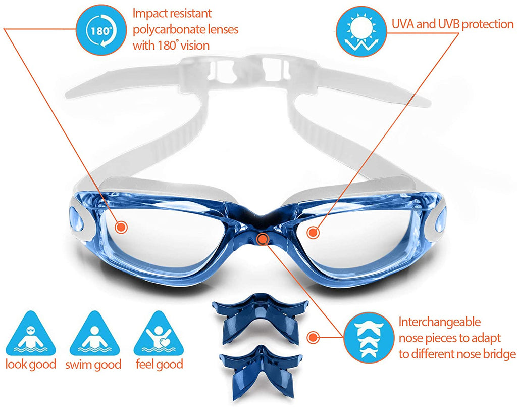 Adult Swim Goggles for Men and Women + Reversible Swimming Cap + Protective Case Set | Swimming Pool Goggles