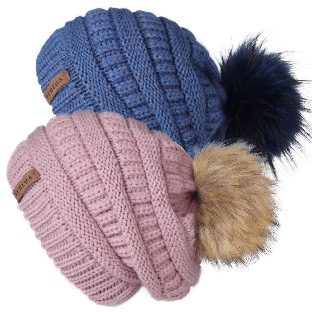 Womens Winter Knit Slouchy Beanie Hat Warm Skull Ski Cap Faux Fur Pom Pom Hats for Women