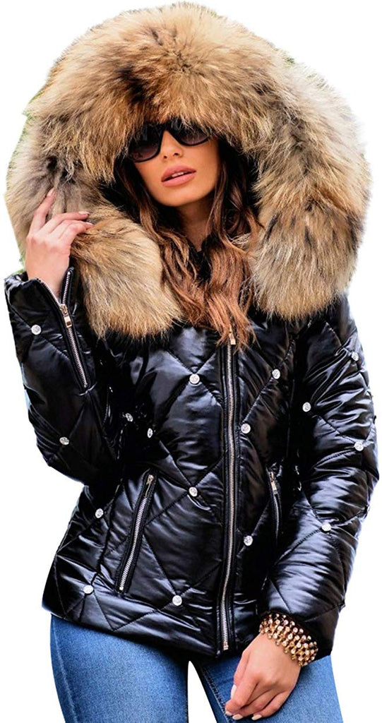 Women Winter Warm Down Jacket Thick Slim Flash Coat Down Outdoor Hood Parka Short Slim Jacket Black