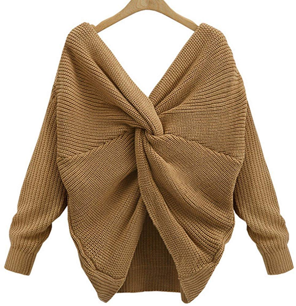 Women's Casual V Neck Criss Cross Backless Long Batwing Sleeve Loose Knitted Sweater Pullovers