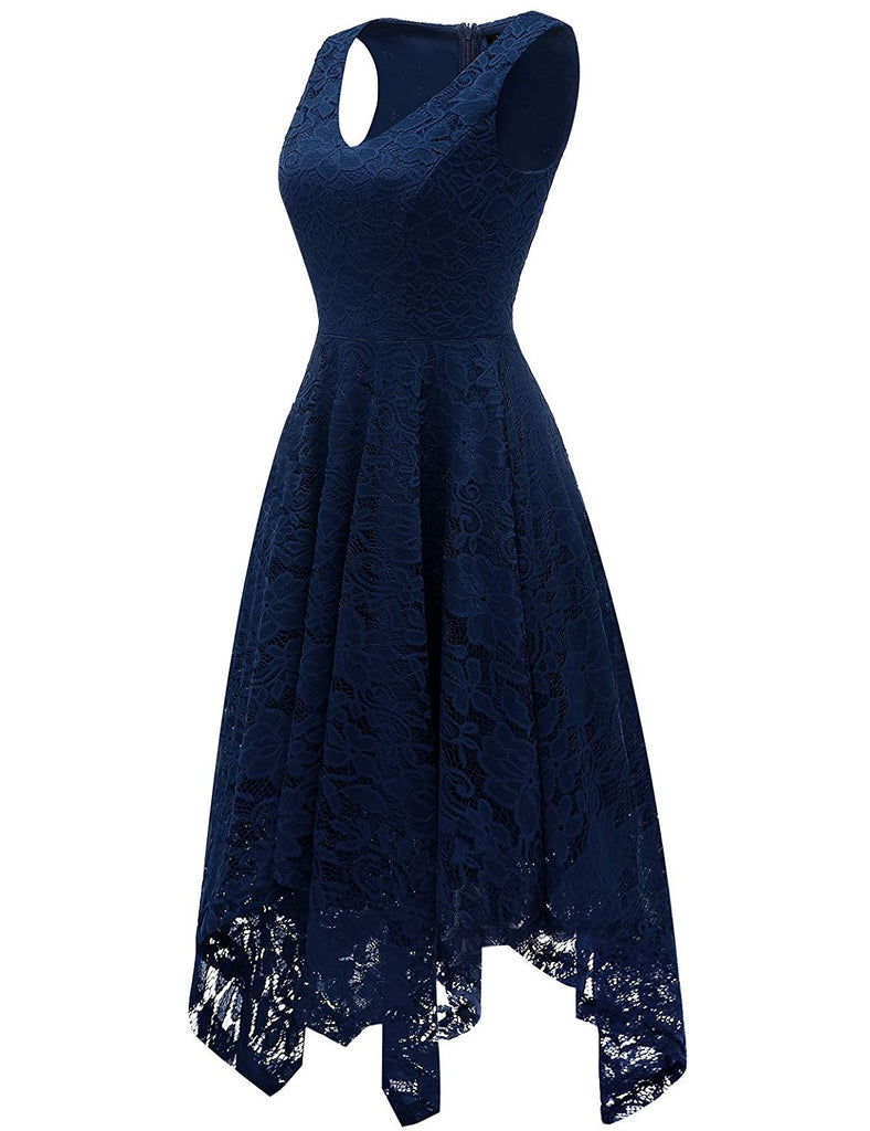 Women's Vintage Floral Lace Dress Handkerchief Hem Asymmetrical Cocktail Formal Swing Dress