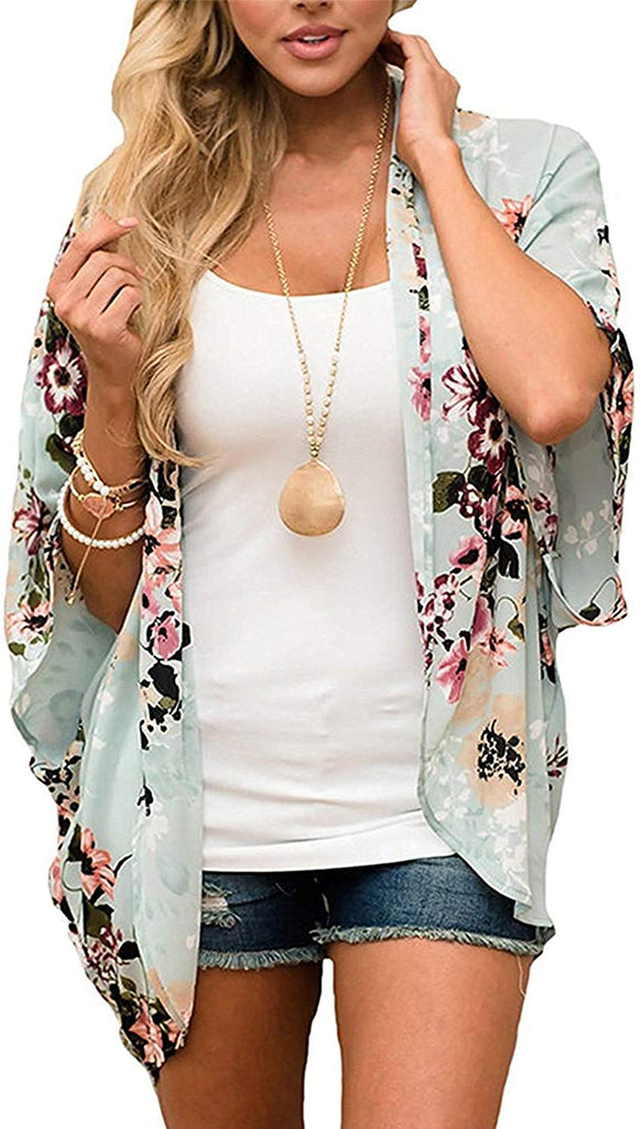 Women's Floral Striped Leopard Printed Kimono Casual Loose Open Front Cardigan Tops Cover Up