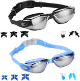 2 Pack Swim Goggles+ Nose Clip + Ear Plugs+Replaceable Nose Pieces,Anti Fog UV Protection Water Proof Goggles