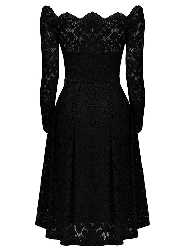 Women's Vintage Floral Lace Long Sleeve Boat Neck Cocktail Party Swing Dress