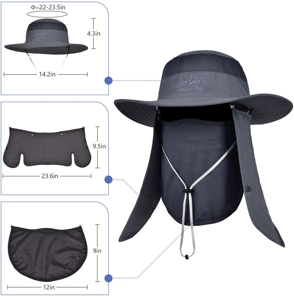 UPF 50+ Sun Protection Cap Wide Brim Fishing Hat with Face & Neck Flap