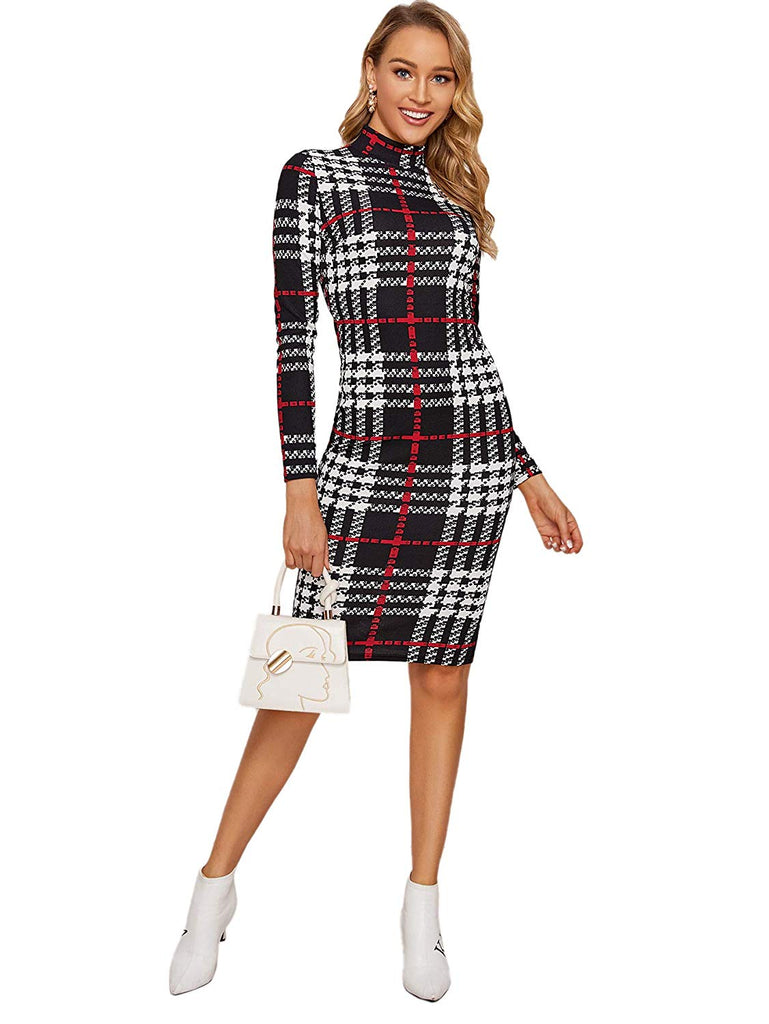 Women's Elegant Long Sleeve Wear to Work Business Cocktail Pencil Dress
