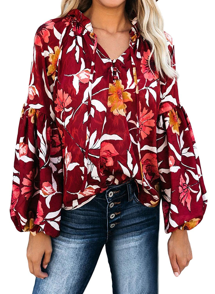 Women Casual Boho Floral Print V Neck Long Sleeve Drawstring Blouse Tops