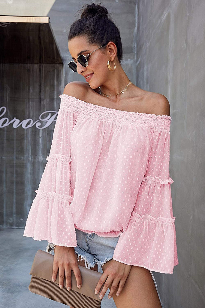 2020 Women's Autumn Chiffon Blouse Off Shoulder Swiss Dot 3/4 Bell Sleeves Ruffle Tunic Top