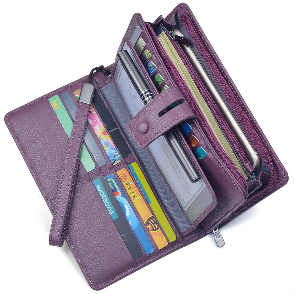 Women's Big Fat Rfid Leather Wristlet Wallet Organizer Large Phone Checkbook Holder with Zipper Pocket