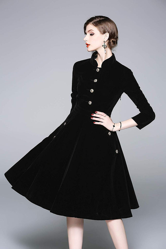 Women's Vintage Long Sleeves Velvet Button Up Swing Midi Dress Autumn/Winter