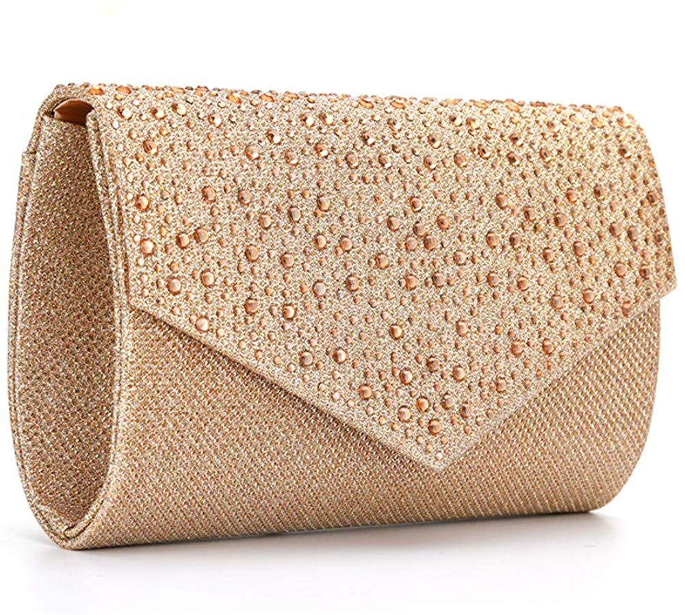 Women Evening Bag Clutch Rhinestone Envelope Party Handbag Bridal Prom Purse