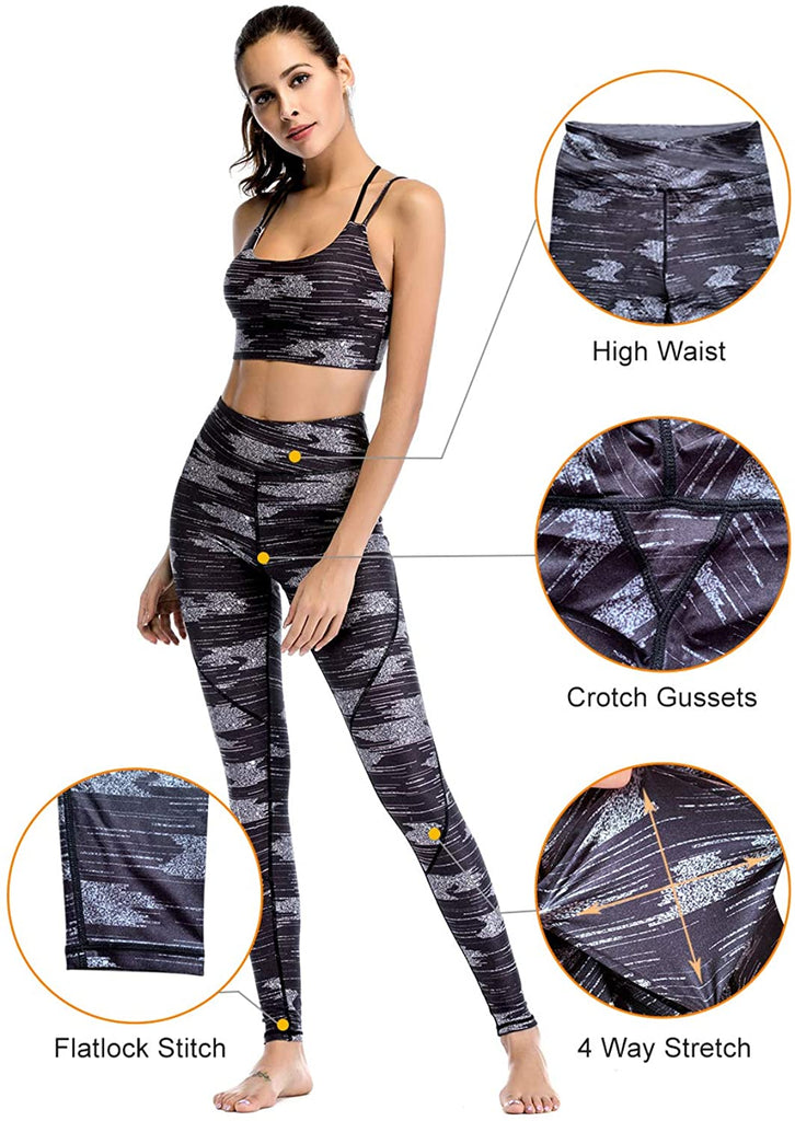 Women High Waist Yoga Legging Power Flex Tummy Control Workout Stretch Sport Yoga Pants for Gym Exercise Fitness