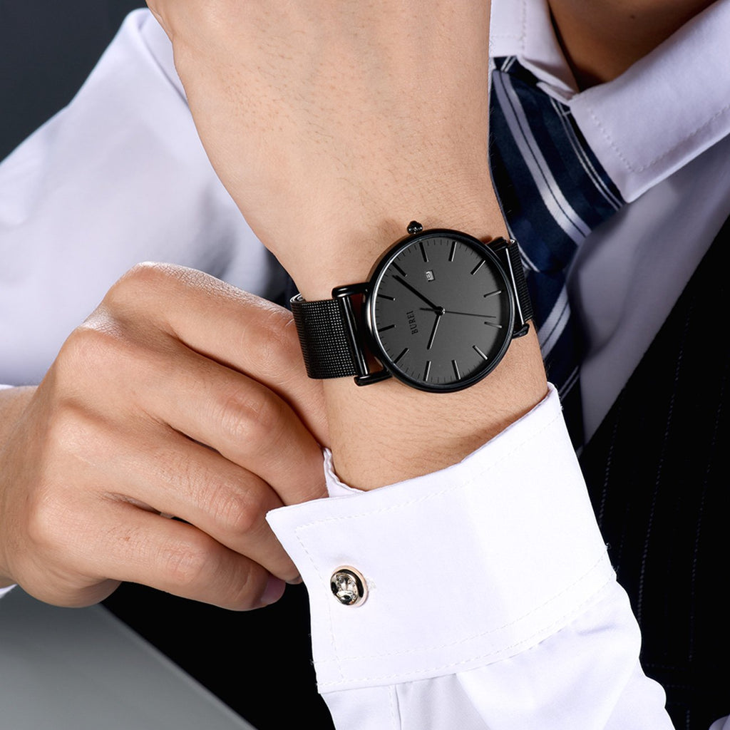 Men's Fashion Minimalist Wrist Watch Analog Date with Stainless Steel Mesh Band