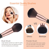 18 Pcs Makeup Brushes Premium Synthetic Fan Foundation Powder Kabuki Brushes Concealers Eye Shadows Make Up Brushes Kit