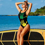 Womens One-Piece Swimsuit Colourful Handprints 3D Graphic Printed Sexy Beachwear