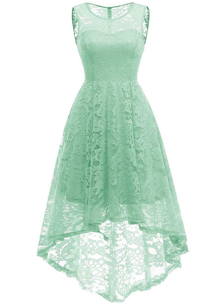 1950s Dress Women's Vintage Floral Lace Sleeveless Hi-Lo Cocktail Formal Swing Dress