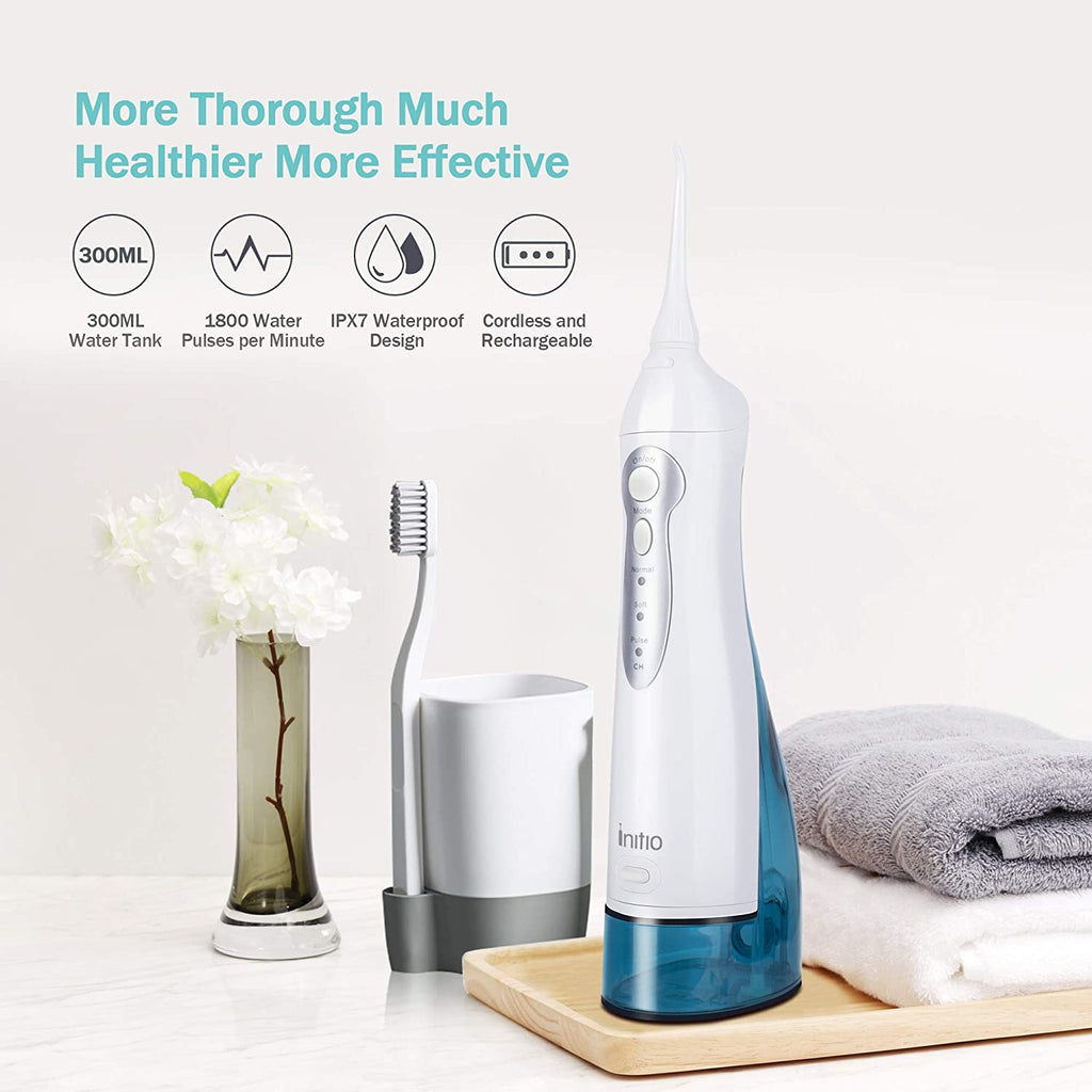 Water Flosser 3 Modes, 300ML Cordless Dental Oral Irrigator, 3 Modes and 6 Jet Tips, IPX7 Waterproof with Travel Bag, Rechargeable Waterproof Teeth Cleaner