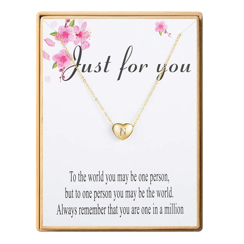 Initial Necklace 18K Real Gold-Plated Letters A-Z 26 Alphabet Heart Pendant Necklace