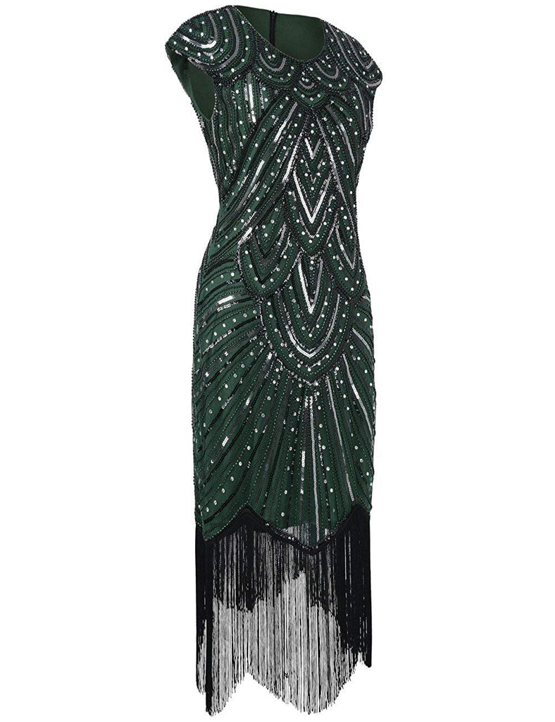 Women's 1920s Flapper Dress Crystal Sequin Embellished Fringed Gatsby Dress