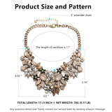 Antique Gold Bib Statement Necklace with Crystal Flower Cluster for Women Weddings Prom