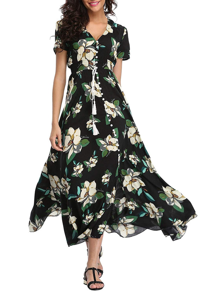 Boho Button Up Split Beach Party Dress Women's Floral Maxi Dresses