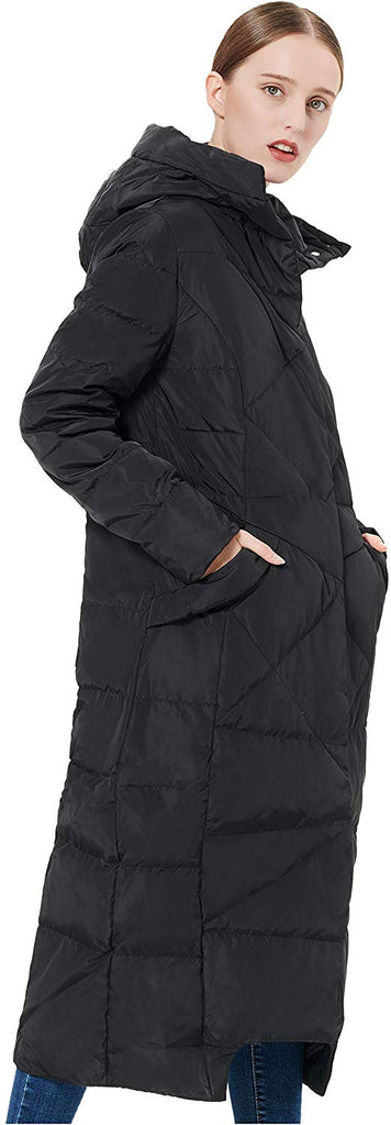 Women's Puffer Down Coat Winter Maxi Jacket with Hood