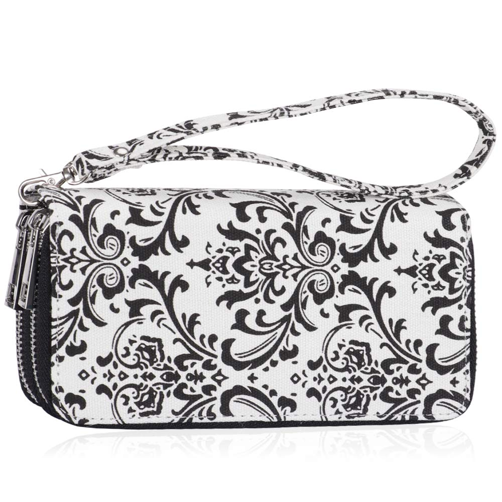 Women Double Zipper Long Clutch Wallet Cellphone Wallet with Hand Strap for Card, Cash, Coin, Bill