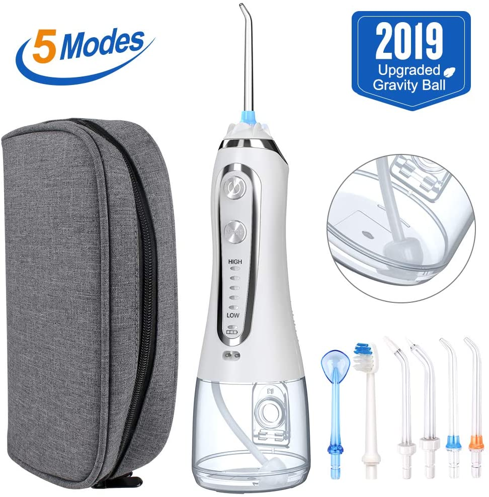 Water Flosser, Portable Cordless Rechargeable Dental Oral Irrigator, with 6 Interchangeable Jet Tips IPX7 Waterproof with 320ML Water Tank