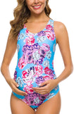 Women One Piece Letters Printed Maternity Swimsuit Backless Tankini Sun's Out Bump's Out Monokini