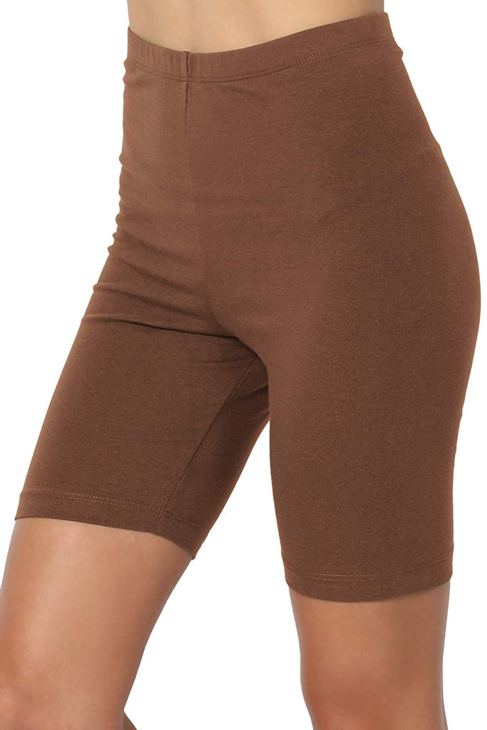 Mid Thigh Stretch Cotton Span High Waist Active Bermuda Short Leggings