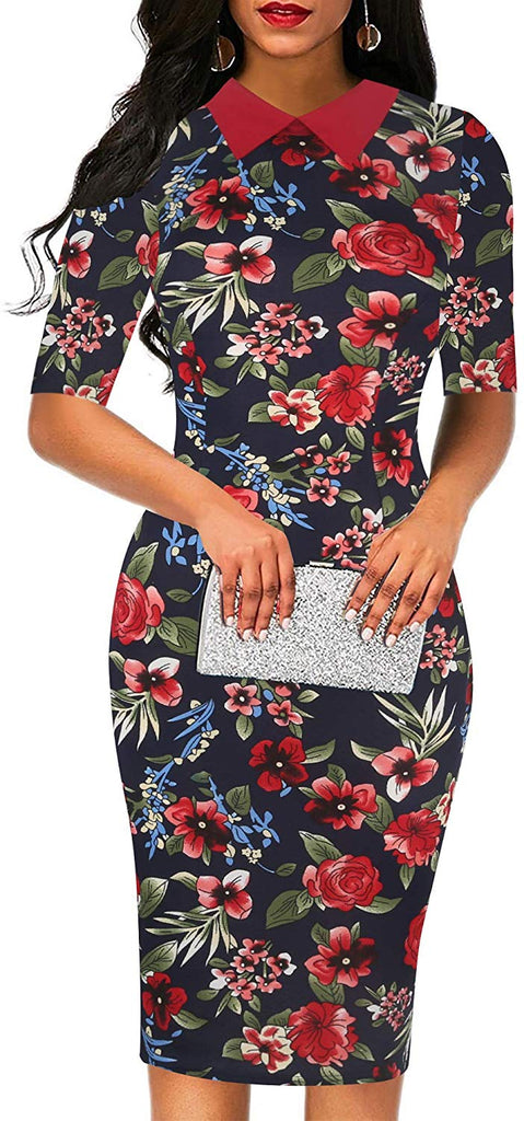 Retro Bodycon Knee-Length Formal Office Dresses Pencil Dress OX276 for women