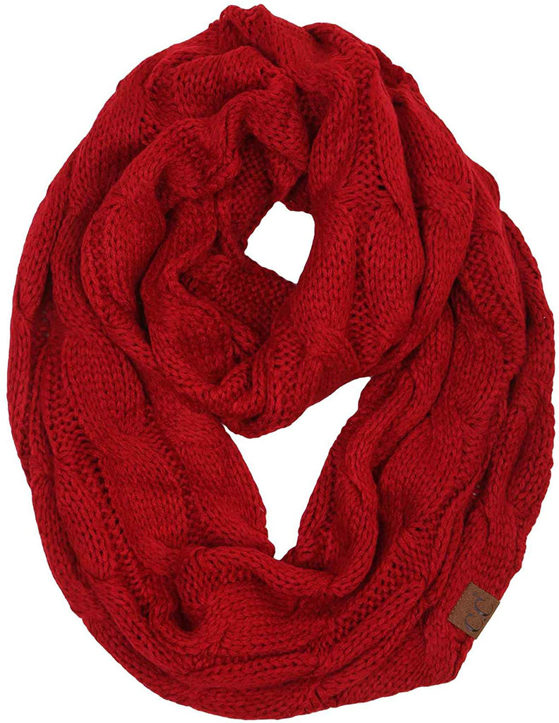 Beanies Matching Ribbed Winter Warm Cable Knit Infinity Scarf