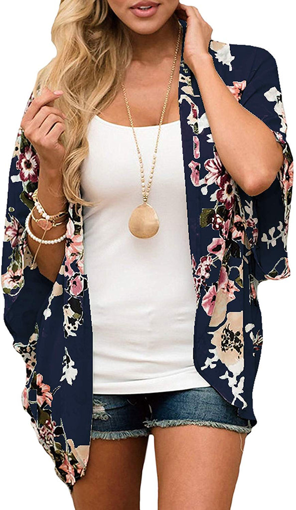 Floral Print Loose Puff Sleeve Kimono Cardigan Lace Patchwork Cover Up Blouse for women