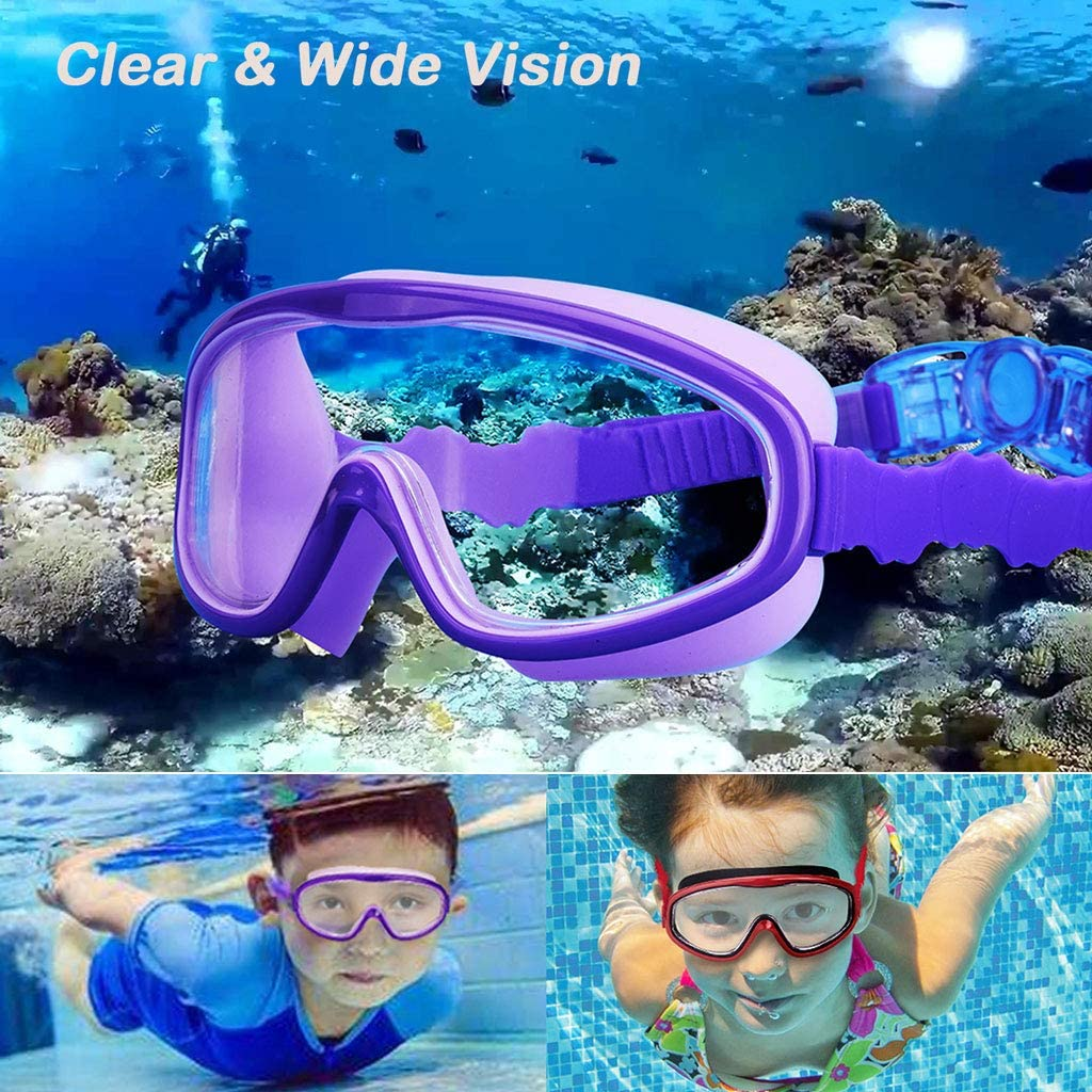 Kids Swim Goggles, Wide View Crystal Clear No-Leak Anti-Fog UV Protection Swimming Glasses with Nose Clip Earplugs