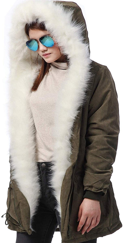 Winter Thicken Faux Fur Hooded Plus Size Parka Jacket Coat Size S-3XL for women