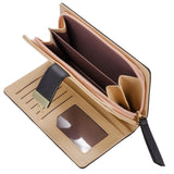 Women's Long Leaf Bifold Wallet Leather Card Holder Purse Zipper Buckle Elegant Clutch Wallet Handbag