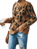Women's Casual Leopard Crew Neck Loose Fit Sweater Long Sleeve Slouchy Pullover Knitted Fuzzy Jumper Tops