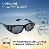 Day Night Driving Glasses Fit Over Sunglasses for Men & Women - Anti Glare Polarized Wraparounds