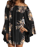 Mini Dress Women's Sexy Off Shoulder Chiffon Lace Ruffle Sleeve Blouse Mini Dress