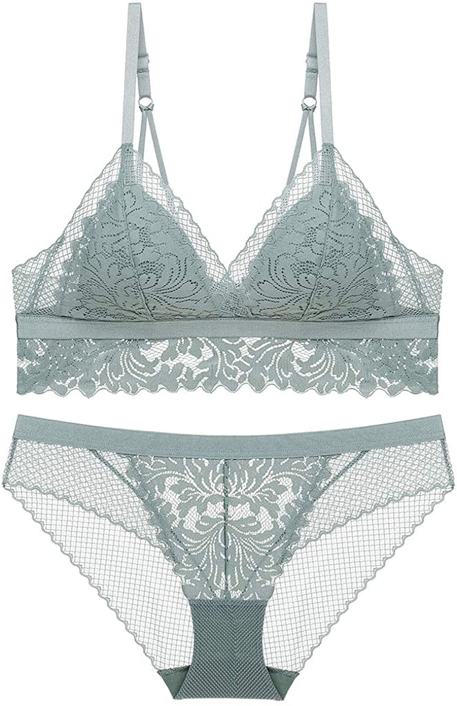 Women's Lace Triangle Floral Bra Wirefree Lingerie Bra and Panties Set