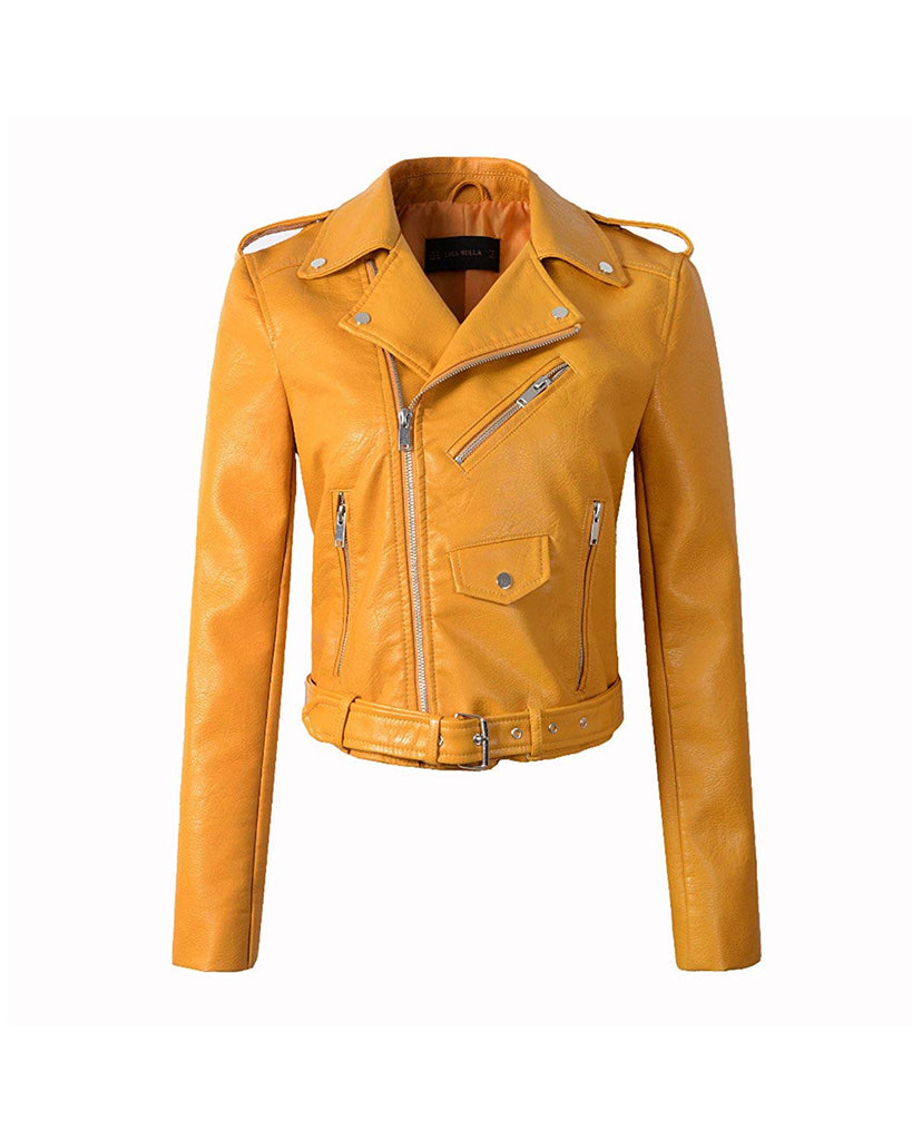 Women's Faux Leather Motorcycle Jacket PU Slim Short Biker Coat