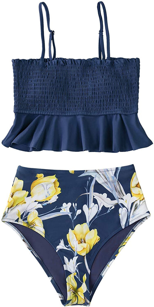 Women's High Waist Bikini Swimsuit Ruffle Smock Floral Print Two Piece Bathing Suit