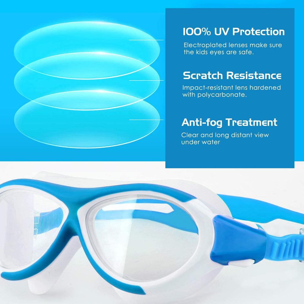 Swim Goggles [2 Pack], No Leaking Anti-Fog UV Protection Soft Silicone Frame Eye Friendly Swimming Goggles Lens