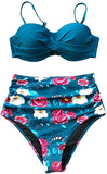 Women's Sapphire Blue Floral High Waisted Bikini Set