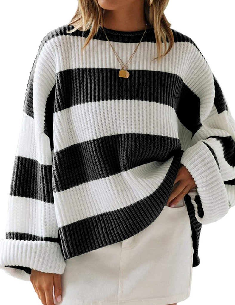 Women Color Block Striped Oversized Sweaters Long Sleeve Crewneck Pullover Loose Chunky Knit Jumper
