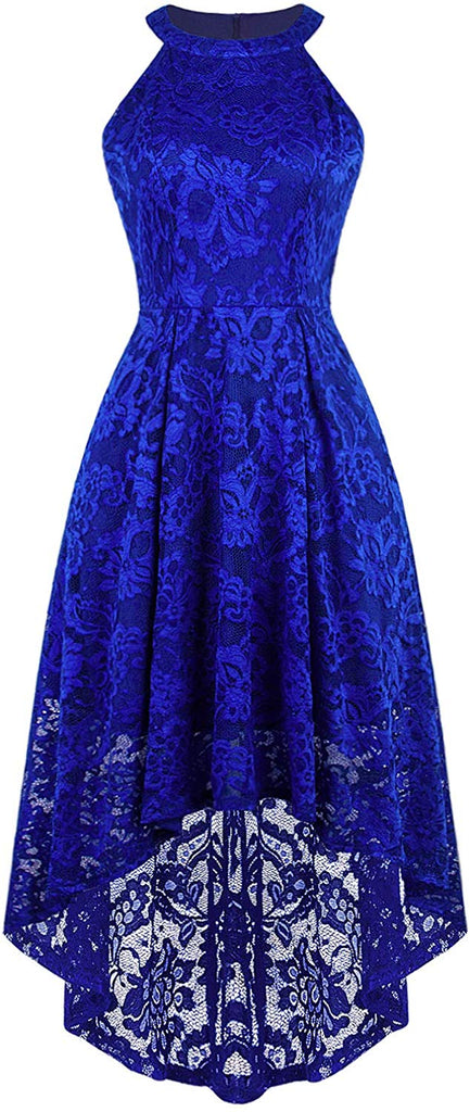 Women's Floral Lace Hi-Lo Maxi Bridesmaid Dress Halter A-Line Formal Cocktail Party Dresses
